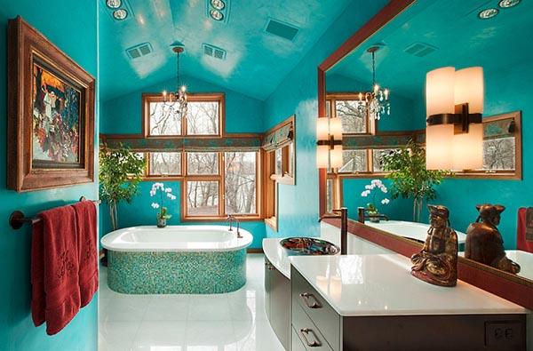 яркое оформление ванной комнаты